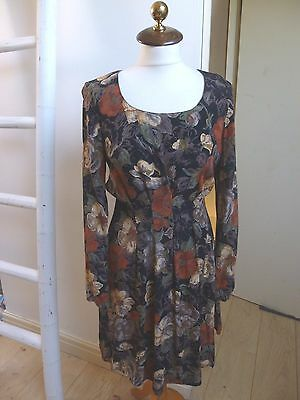 Unbranded true vintage floral retro print summer/festival/tea/boho dress size S