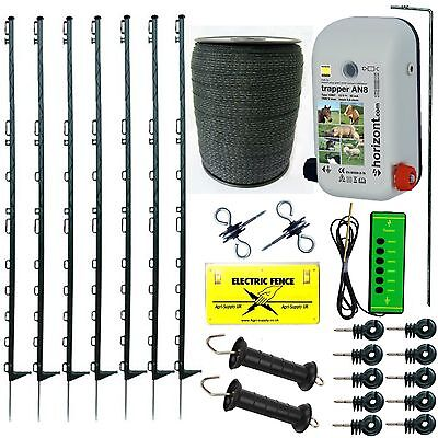 Electric Fence Starter Kit With An8 Energiser 4Ft Green Posts 20Mm Tape Fencing