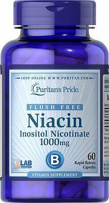 Puritans Pride Flush Free Niacin Inositol Nicotinate 1000mg X60 Caps For Heart