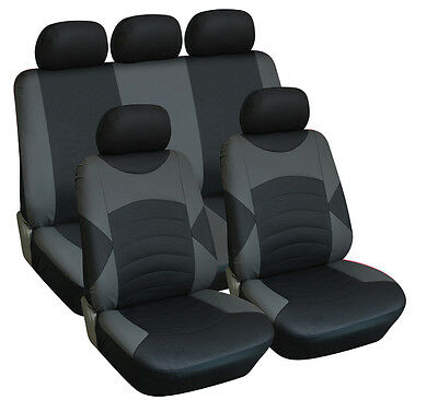 AUDI A5 ALL YEARS Full Set Leather Look Seat Covers Black / Grey