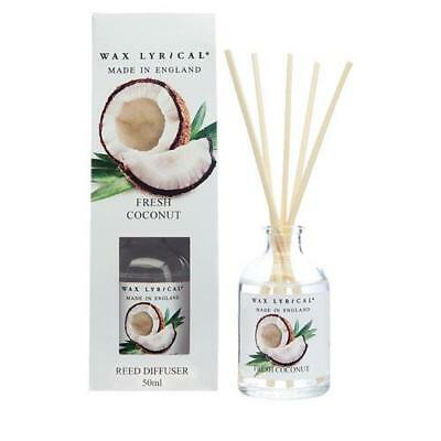 Wax Lyrical Fresh Coconut Made In England 50ml Reed Diffuser FREE P&P
