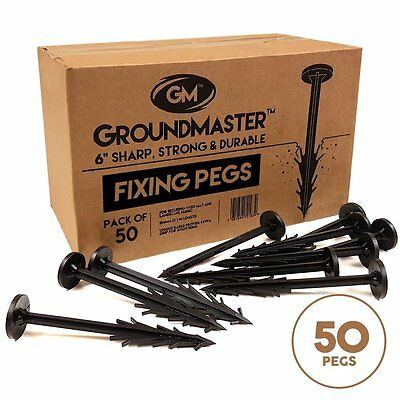 """50x 6"""" Weed Control Fabric Securing Pegs Ground Cover Fixing Anchor Membrane"""