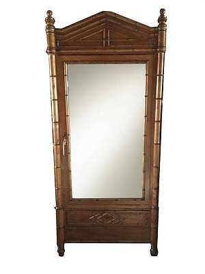 Antique Faux Bamboo Mirrored Armoire