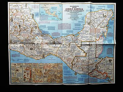 National Geographic Map 1968 - Archeological Map of Middle America  (M164)