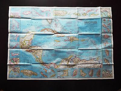 National Geographic Map 1970 -  West Indies Caribbean Islands (M152)