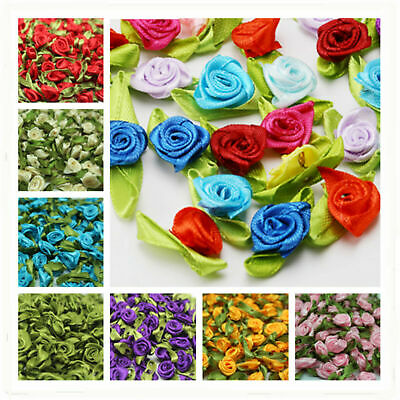 30-120pcs Satin Ribbon Rose Flower bud Appliques Christmas Festival Creative DIY