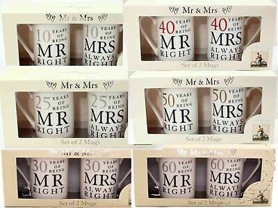 Wedding Anniversary Gift Set, Mr/Mrs Right mugs 10th 25th 30th 40th 50th