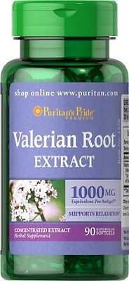 Puritans Pride Valerian Root 1000mg X90 Softgels Promote Relaxation//liver Detox