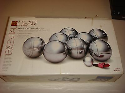 ESSENTIAL GEAR CHROME BOCCE BALL SET COMPLETE w/WOOD STORAGE CASE NEW IN BOX