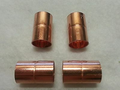 """1/2"""" Copper Coupling with Stop  Sweat Solder Pressure Fitting New   Lot of 4"""
