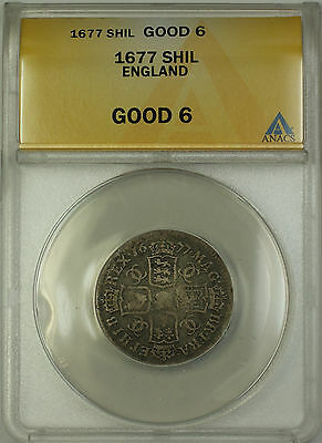 1677 England Silver Shilling Coin Charles II ANACS G-6