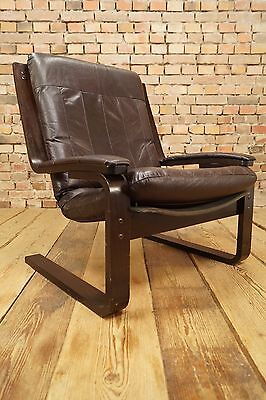 60s EASY CHAIR DANISH LEATHER ARMCHAIR DENMARK CANTILEVER Westnofa Era Vintage