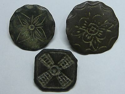Rare Antique Buttons Beautifuls Lot 3 Buttons