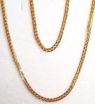"""10k solid yellow gold(1mm) Square wheat chain(16""""/18""""/20""""/22""""/24"""")"""