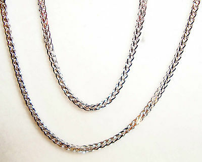 """14k solid white gold(1mm)Square wheat chain(16""""/18""""/20""""/22""""/24"""")"""