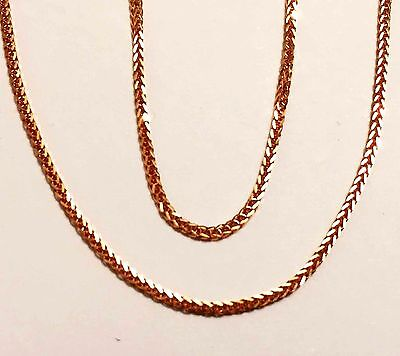 """14k solid rose gold(1mm)Square wheat chain(16""""/18""""/20""""/22""""/24"""")"""