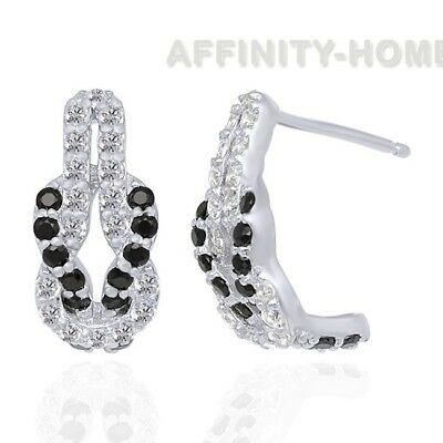 99 CT BLACK Spinel & Synthetic White Sapphire Sterling Silver Hoop Earrings