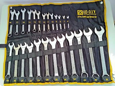 25PC Metric Combination Spanner Set In Tool Roll Garage Tools + Free tool bag
