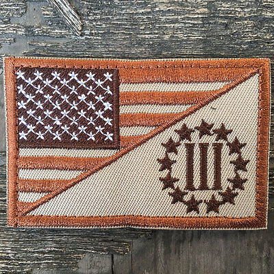 USA American Flag Three Percenter US Military Tactical Morale Emblem Badge Patch