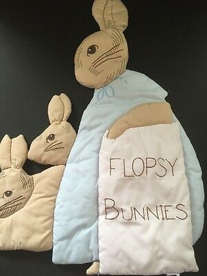 Vintage Quilted Flopsy Bunnies Quilted Wall Hanging Peter Rabbit