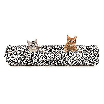 PAWZ Road Cat Tunnel Leopard Print Crinkly Cat Fun 2 Holes Long Tunnel Kitten...
