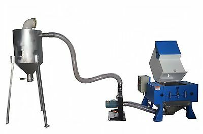 New 15 HP Plastic Grinder / Granulator with 3 HP Automatic Cyclone System