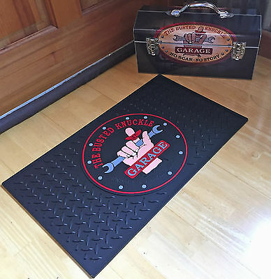 """Garage Door Mat Busted Knuckle Rubber 25""""x15"""" FREE Decals with Purchase"""