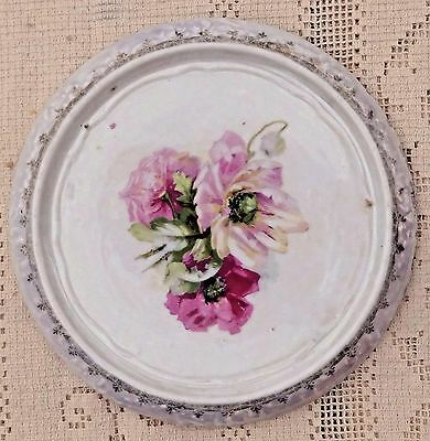 ANTIQUE EARLY TO MID 20th CENTURY COLORFUL HAND PAINTED PORCELAIN TRIVET**
