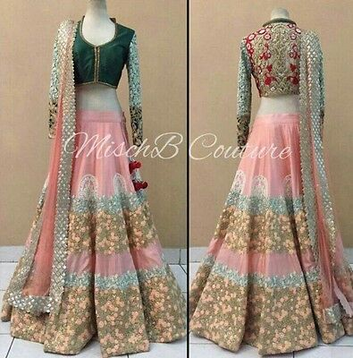 Indian Bollywood, Designer,Bridal Pink & Emerald Lehenga, Chanya Choli