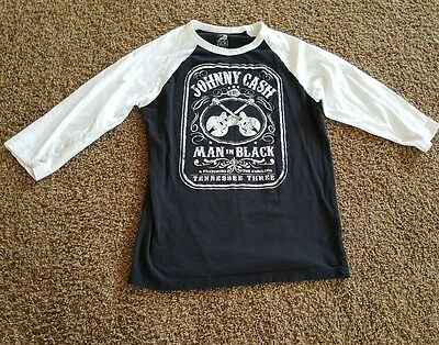 Zion rootswear XL Johnny Cash 3/4 sleeve T shirt black and white