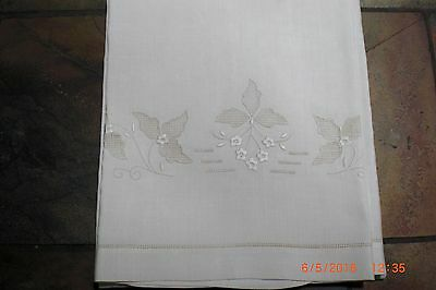 Antique Linen Towel White Work Embroidered  D 42