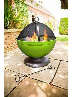 Garden Patio Heater Outdoor Fire Pit Wood Burner BBQ Cooking Grill Lime Green