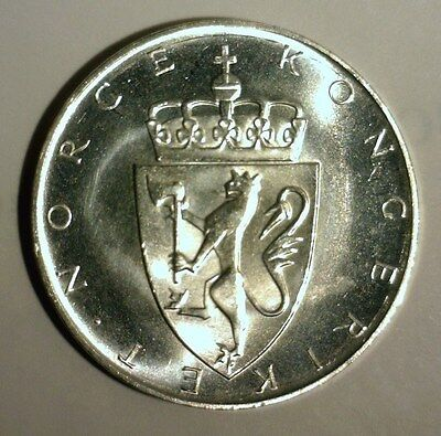 1964  Norway  Silver  10 Kroner  Uncirculated   Nice Looking Coin!!!