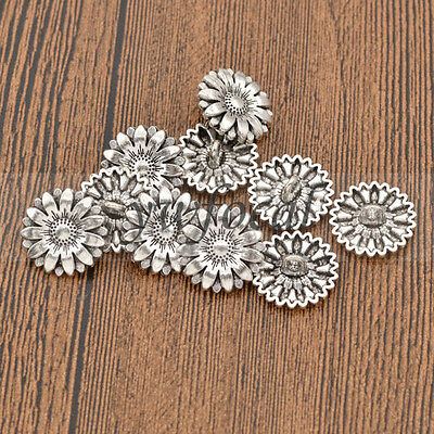 10 Pcs Antique Silver Metal Shank Buttons Sunflower Carved Handmade Crafts