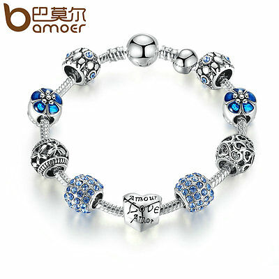 Bamoer European Silver Charm Bracelet With Blue CZ Beads for Women Love Jewelry