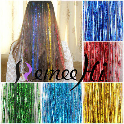 "28"" Salon Silk Hair Tinsel 1 Pack 250 Strands 40 Colors Synthetic Hair Extension"