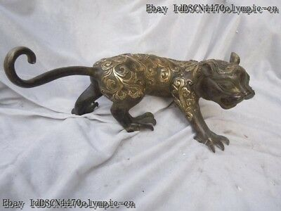 Old China bronze gild carved beautiful flower pattern tiger sculpture statue