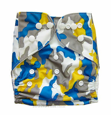 Reusable Modern Cloth Nappies One size fits most Diaper Blue Yellow Camo