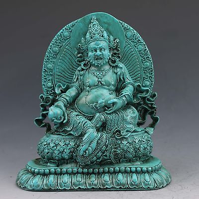 Chinese Turquoise Hand-carved Belly Buddha  Statue G1013
