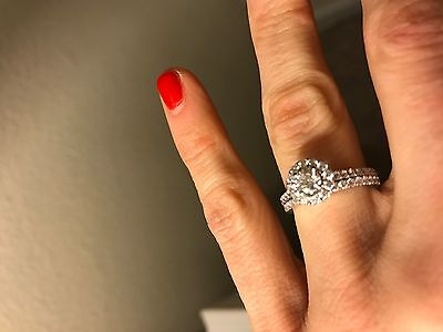 14k round cut diamond white gold engagement and wedding ring