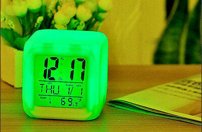 Home Digital Alarm Thermometer Night Glowing Cube 7 Colors Clock LED Change LCD