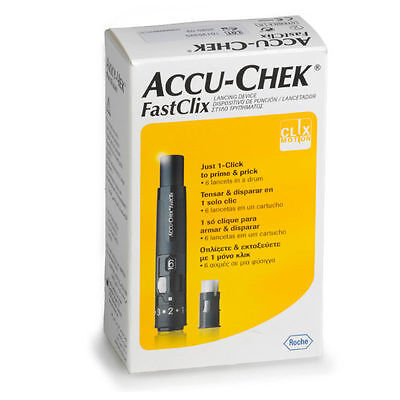 ~ Accu-Chek Fastclix Lancing Device Pen + Lancet Drum With 6 Lancets Accuchek