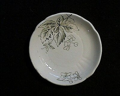 Antique Victorian Porcelain Leaves & Small Flowers Decorated Butter Pat