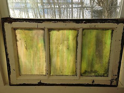 """Antique Chicago Stained Leaded Glass Transom Window 26"""" by 15-1/2"""" Circa 1925"""