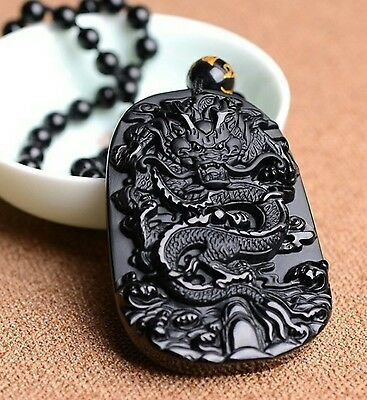 Natural Obsidian Pendant with Bead Necklace Black A Carved Zodiac Dragon