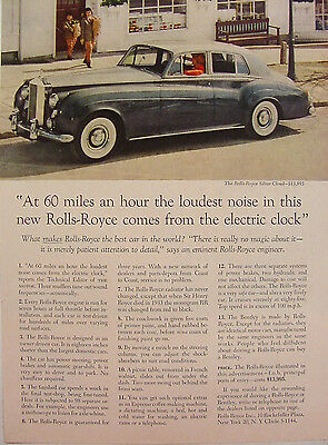 Vintage ROLLS-ROYCE SILVER CLOUD FRO $13,995 PRINT AD