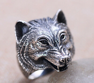 925 Sterling Silver wolf men's  Biker ring rings jewelry P374 US size 12