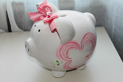 Nordstrom White Ceramic Piggy Bank Flora Design With Pink Bow Brand New