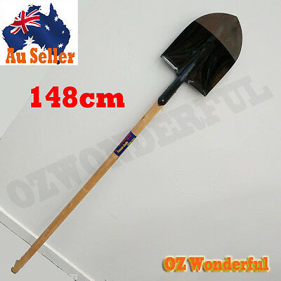 Post Hole Shovel Wood Wooden Long Handle Spade Shape - 148cm - S503L - EPP2178