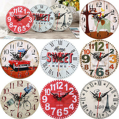 Vintage Decoration Home Kitchen Office Clock Round Square Wood Wall Clock OB